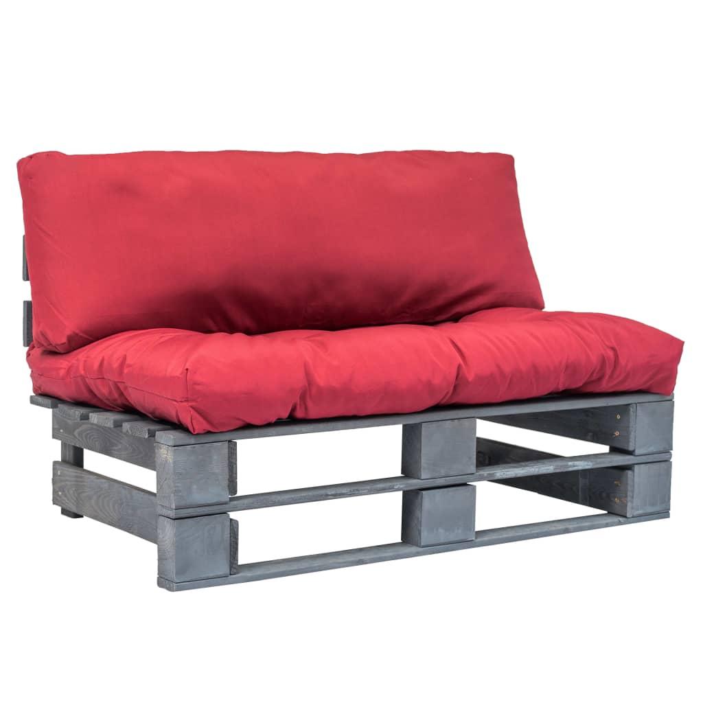 vidaXL Canapea de grădină din paleți cu perne roșii, lemn de pin imagine vidaxl.ro
