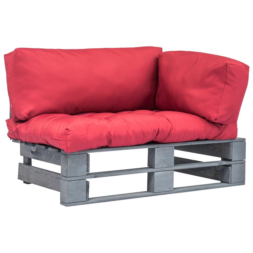 99275295 Gartensofa Aus Paletten Mit Roten Kissen Grau Holz