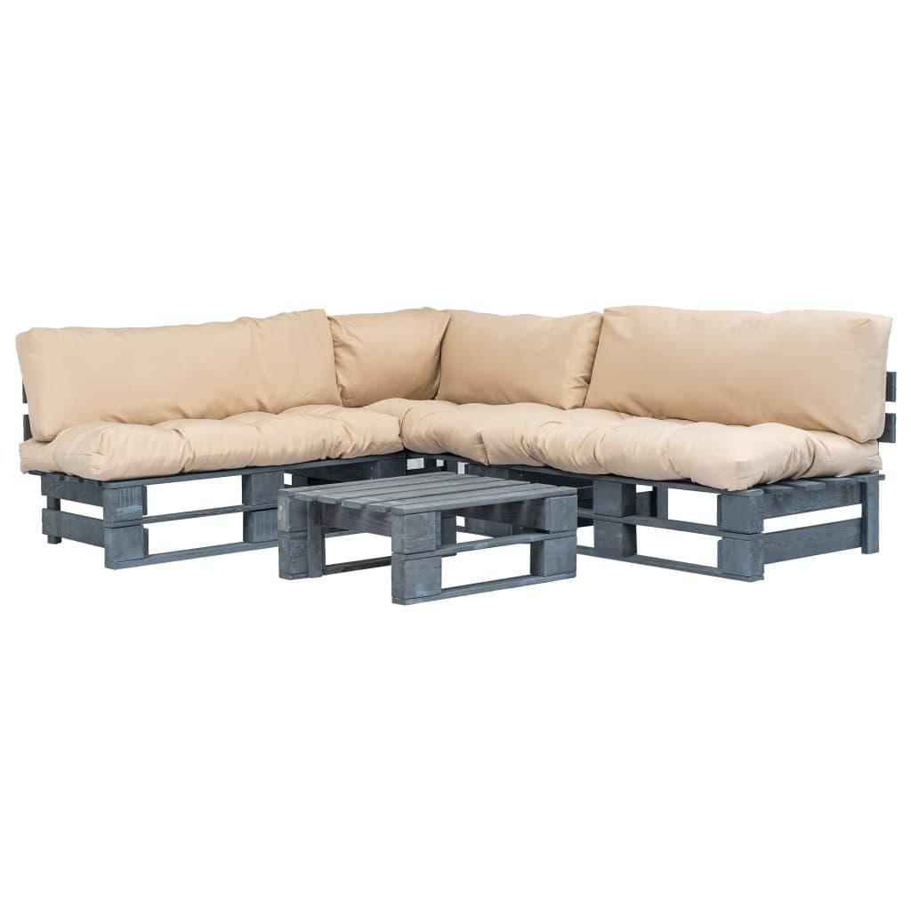 vidaXL 4-cz. zestaw ogrodowy, piaskowe poduszki, palety z drewna FSC