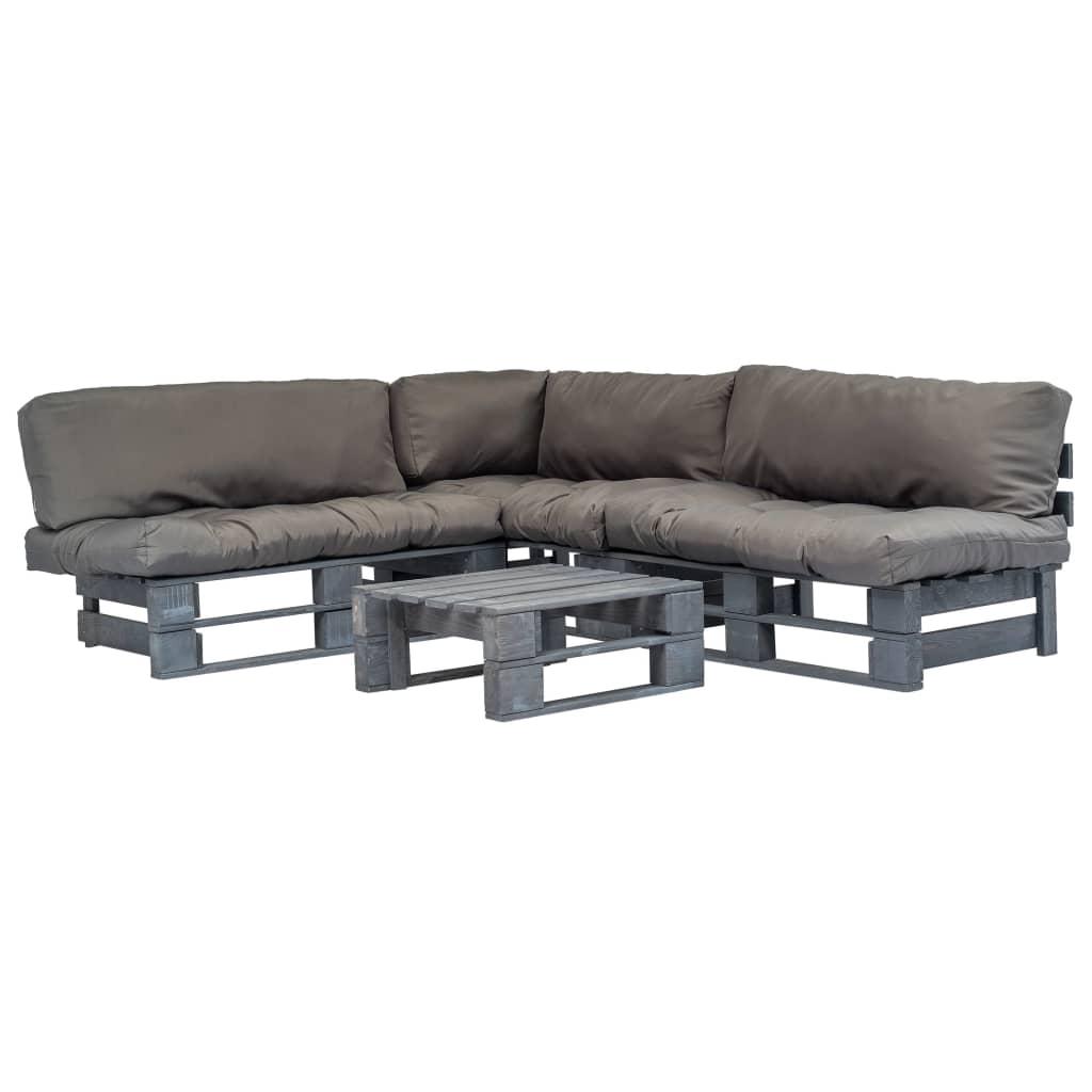 vidaXL 4-cz. zestaw ogrodowy, szare poduszki, palety z drewna FSC
