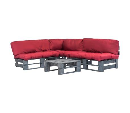 vidaxl canap s palette 4 pcs et coussins rouge bois gris. Black Bedroom Furniture Sets. Home Design Ideas