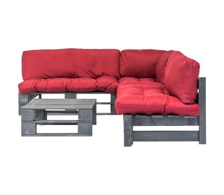acheter vidaxl canap s palette 4 pcs et coussins rouge. Black Bedroom Furniture Sets. Home Design Ideas