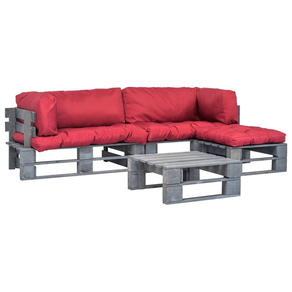 vidaXL 4-cz. zestaw ogrodowy, czerwone poduszki, palety z drewna FSC