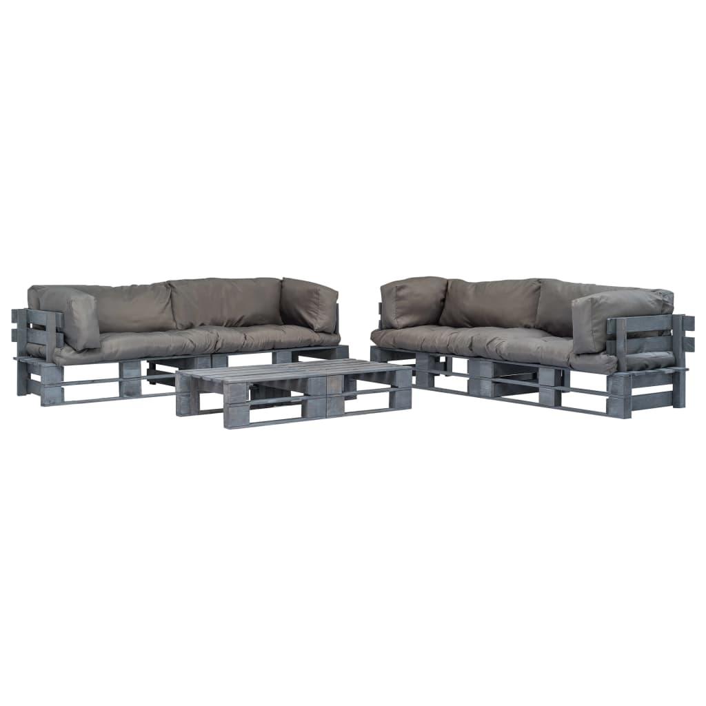 vidaXL 6-cz. zestaw ogrodowy, szare poduszki, palety z drewna FSC