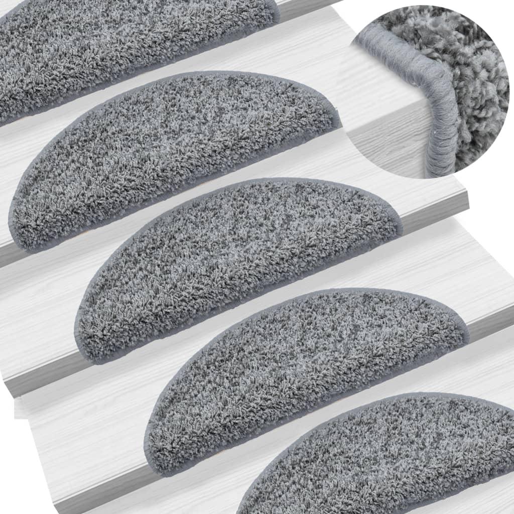 Nášlapy na schody 15 ks šedé 56 x 20 cm