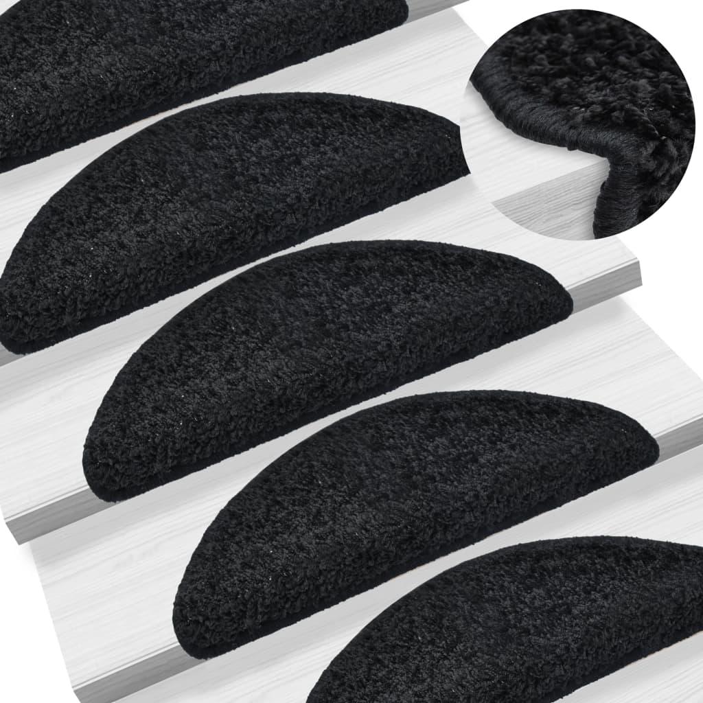 15 ks Nášlapy na schody černé 65 x 25 cm