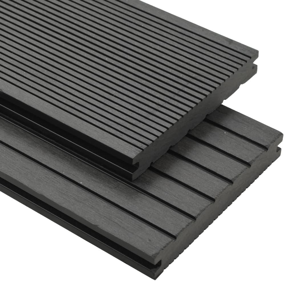 vidaXL Terrasplanken met accessoires 10 m² 2,2 m massief HKC grijs