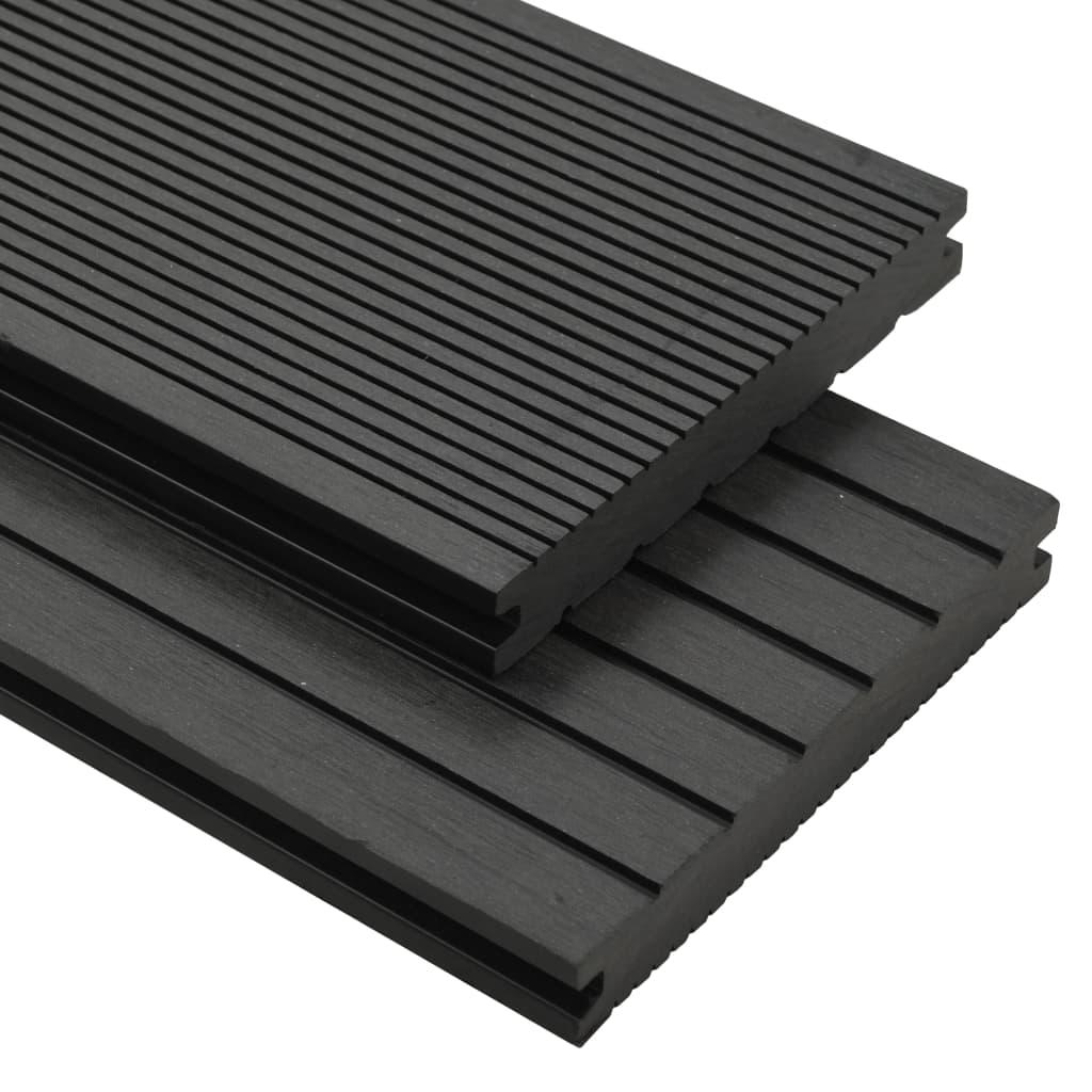 vidaXL Pardoseli solide cu accesorii, negru, 30 m², 2,2 m, WPC imagine vidaxl.ro