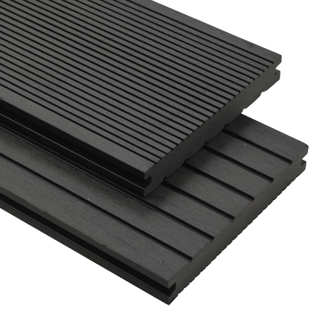 vidaXL Pardoseli solide cu accesorii, negru, 15 m², 4 m, WPC poza vidaxl.ro
