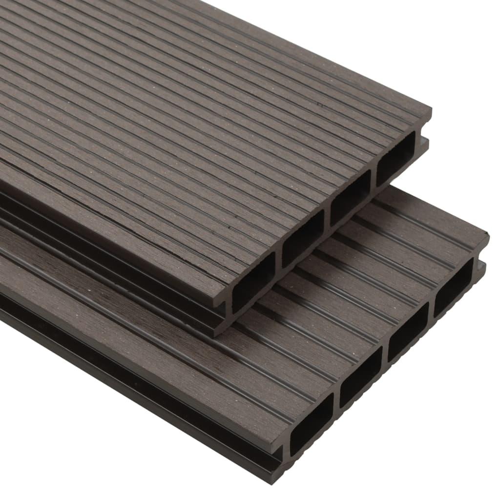 vidaXL WPC dutá terasová prkna a příslušenství 20m² 2,2m tmavá hněď