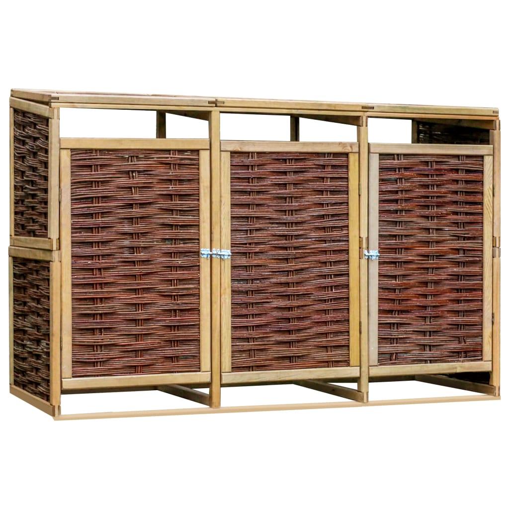 vidaXL Magazie triplă de pubele, lemn de pin și răchită imagine vidaxl.ro