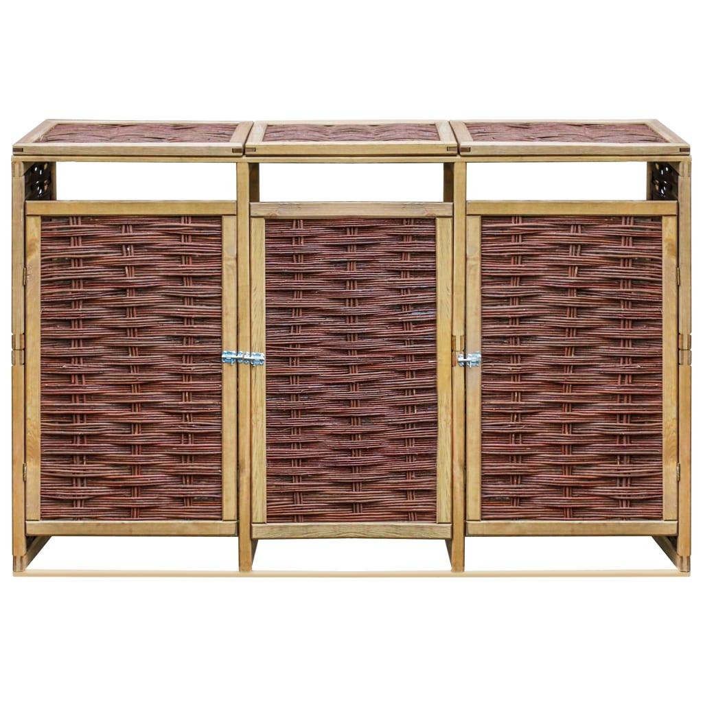 vidaXL Containerberging driedubbel grenenhout en riet
