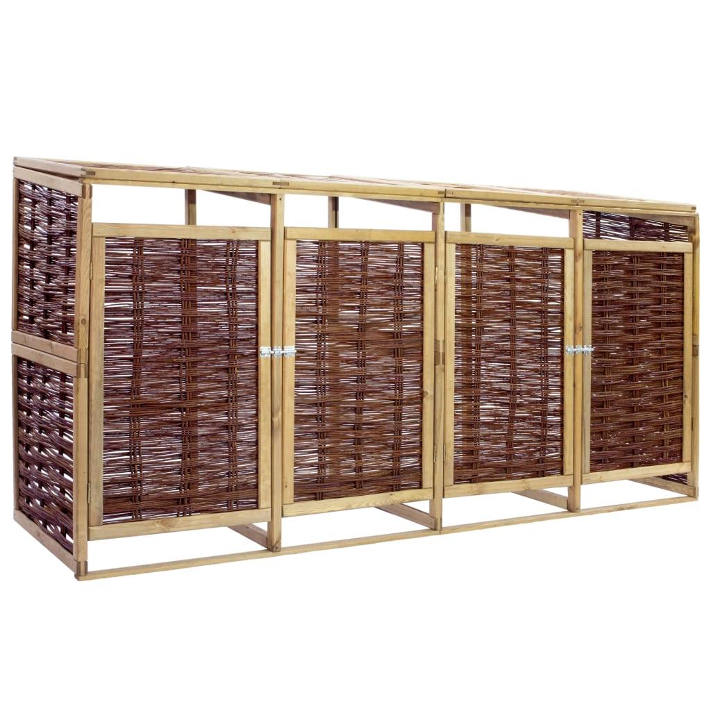 vidaXL Magazie de pubele cvadruplă, lemn de pin și răchită imagine vidaxl.ro