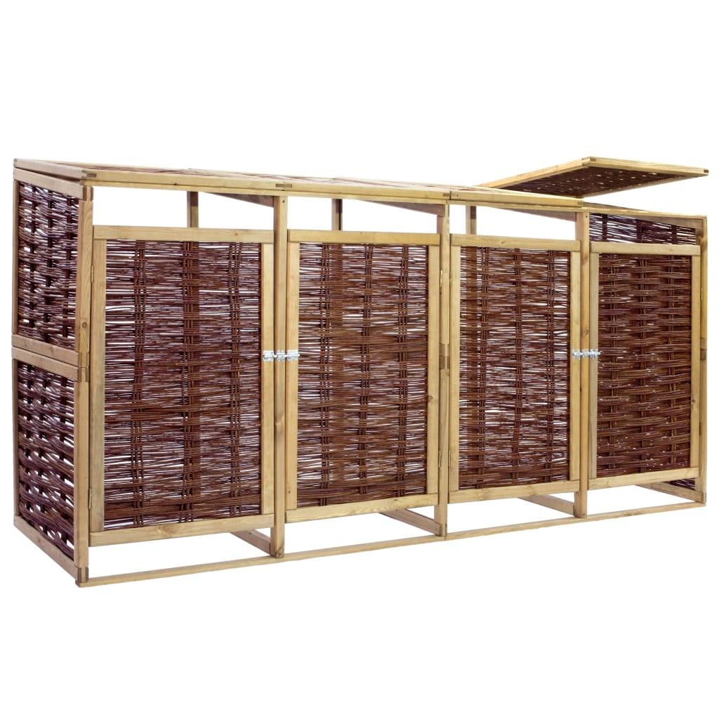 vidaXL Containerberging viervoudig grenenhout en riet