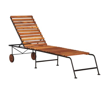 vidaXL Sun Lounger with Steel Legs Solid Acacia Wood