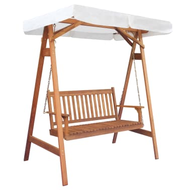 vidaXL Garden Swing Chair with Canopy Eucalyptus Acacia Wood[1/5]