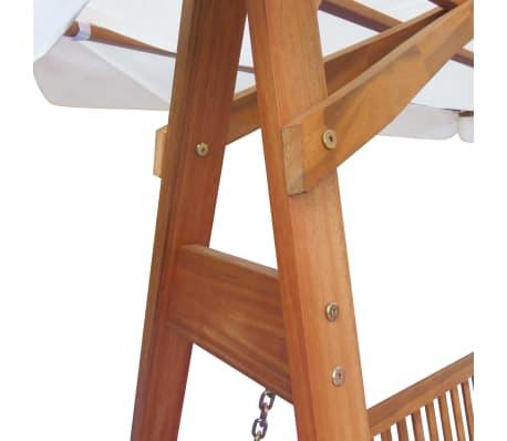 vidaXL Garden Swing Chair with Canopy Eucalyptus Acacia Wood[2/5]