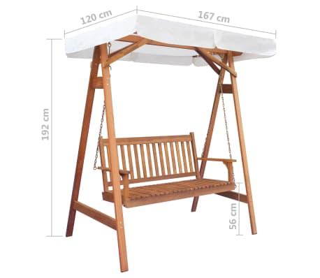 vidaXL Garden Swing Chair with Canopy Eucalyptus Acacia Wood[5/5]