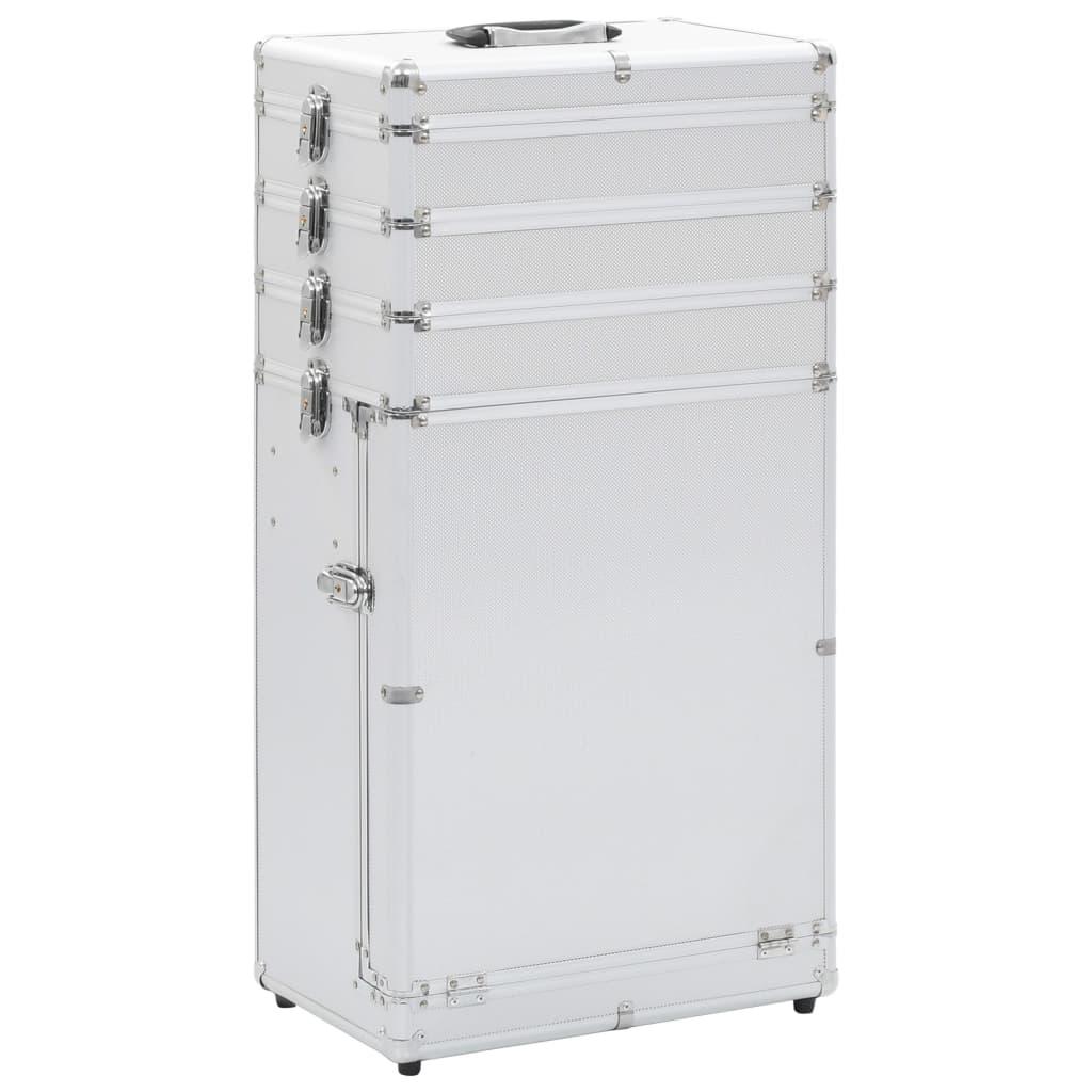 Kosmetický kufřík na kolečkách hliník stříbrný