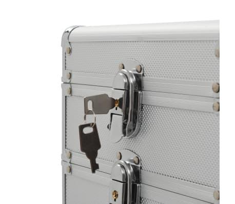vidaXL Kosmetikos lagaminas su ratukais, sidabrinės spalvos, aliuminis[7/9]