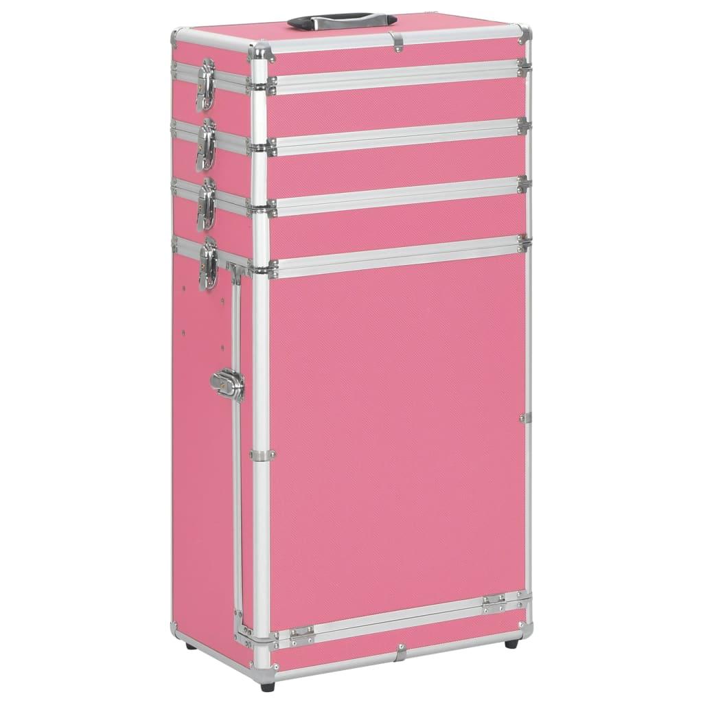 Kosmetický kufřík na kolečkách hliník růžový