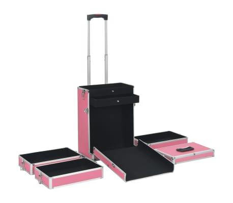 vidaXL Kosmetikkoffer Aluminium Rosa[5/9]