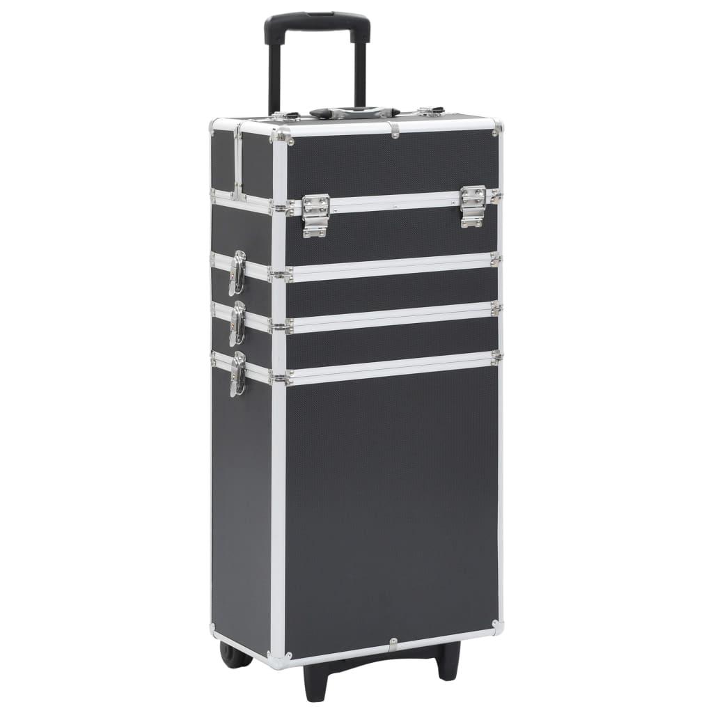 Kosmetický kufřík na kolečkách hliník černý