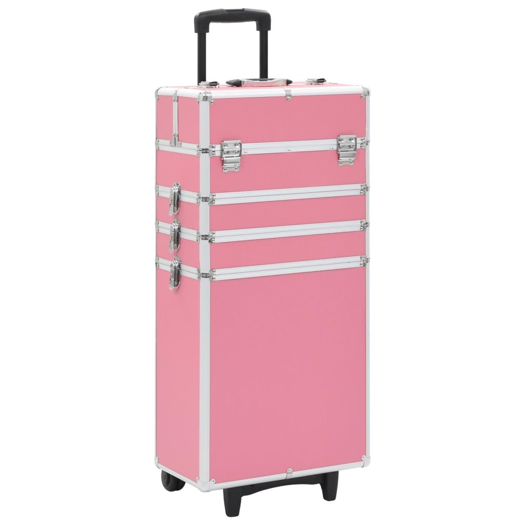vidaXL Kosmetický kufřík hliník růžový