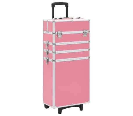 vidaXL Sminklåda aluminium rosa