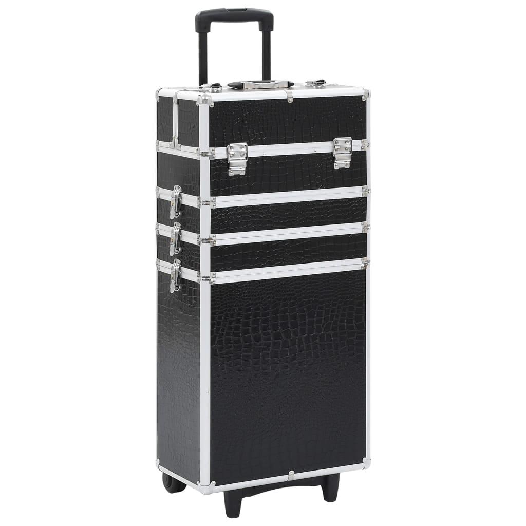 vidaXL Kosmetický kufřík na kolečkách hliník černý krokodýlí vzorek
