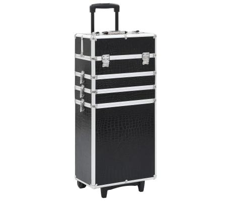 vidaXL Valigia Trolley per Cosmetici Alluminio Nero Design Coccodrillo[1/10]
