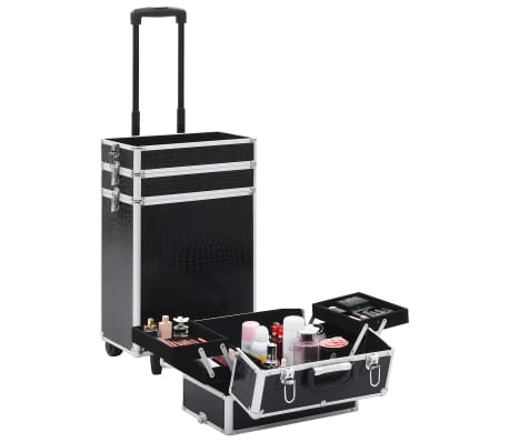 vidaXL Valigia Trolley per Cosmetici Alluminio Nero Design Coccodrillo[2/10]