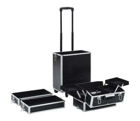vidaXL Valigia Trolley per Cosmetici Alluminio Nero Design Coccodrillo[5/10]