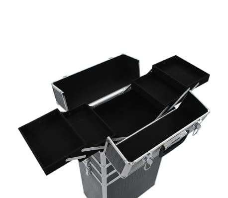 vidaXL Valigia Trolley per Cosmetici Alluminio Nero Design Coccodrillo[7/10]