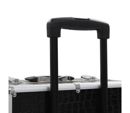 vidaXL Valigia Trolley per Cosmetici Alluminio Nero Design Coccodrillo[8/10]