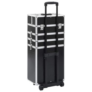 vidaXL Valigia Trolley per Cosmetici Alluminio Nero Design Coccodrillo[4/10]