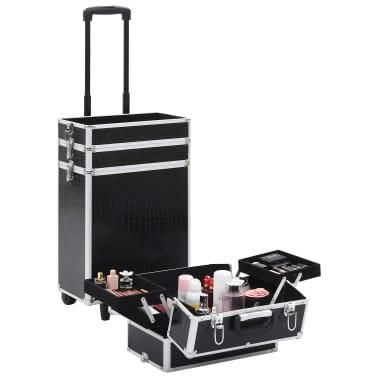 vidaXL Valigia Trolley per Cosmetici Alluminio Nero Design Coccodrillo[6/10]