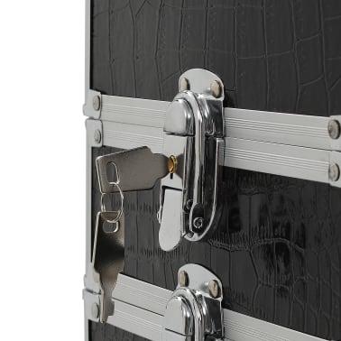 vidaXL Valigia Trolley per Cosmetici Alluminio Nero Design Coccodrillo[9/10]