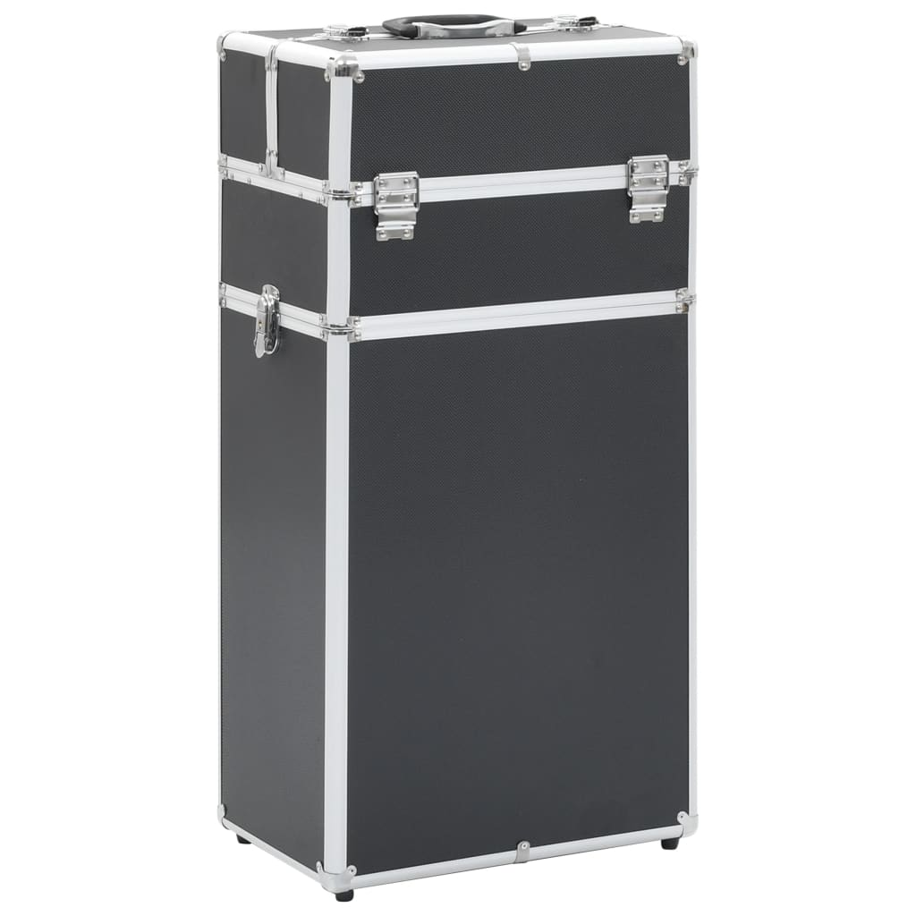 vidaXL Make-up trolley aluminium zwart