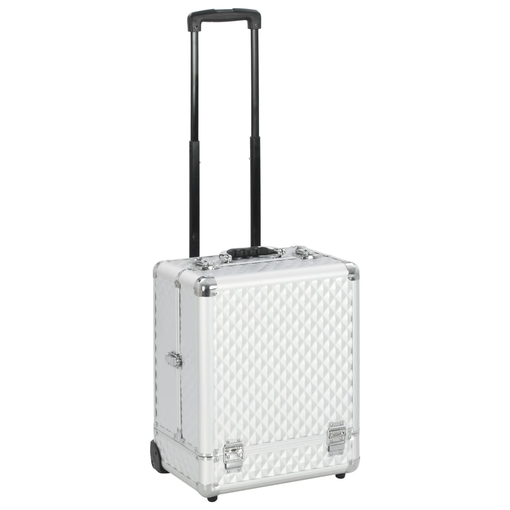 vidaXL Make-up trolley 35x29x45 cm aluminium zilverkleurig