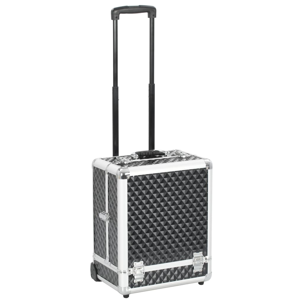 vidaXL Make-up trolley 35x29x45 cm aluminium zwart