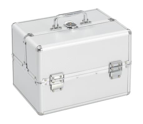 vidaXL Kosmetinis lagaminas, sidabrinės spalvos, 22x30x21cm, aliuminis[1/6]