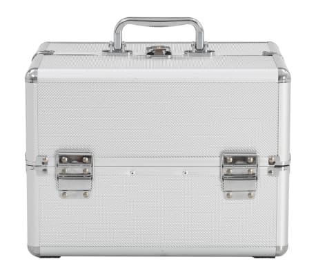 vidaXL Kosmetinis lagaminas, sidabrinės spalvos, 22x30x21cm, aliuminis[3/6]