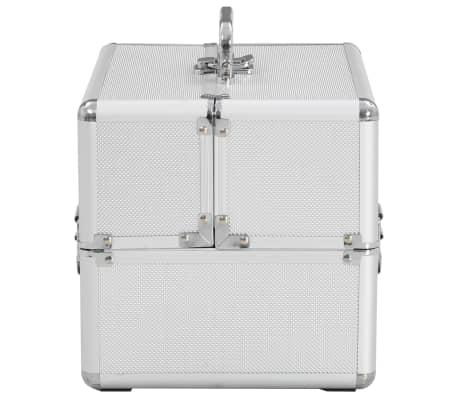 vidaXL Kosmetinis lagaminas, sidabrinės spalvos, 22x30x21cm, aliuminis[4/6]