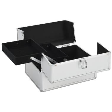 vidaXL Kosmetinis lagaminas, sidabrinės spalvos, 22x30x21cm, aliuminis[2/6]