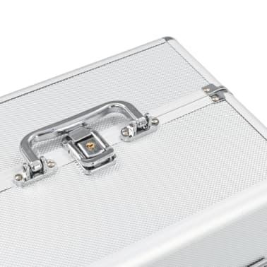 vidaXL Kosmetinis lagaminas, sidabrinės spalvos, 22x30x21cm, aliuminis[5/6]