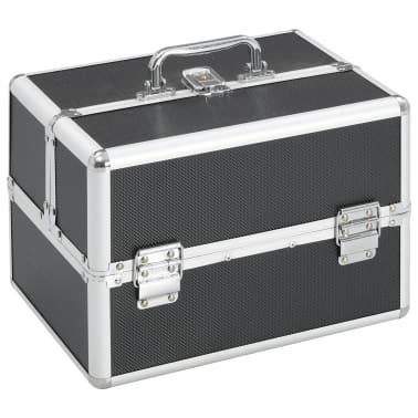 vidaXL Kosmetinis lagaminas, juodos spalvos, 22x30x21 cm, aliuminis[1/6]