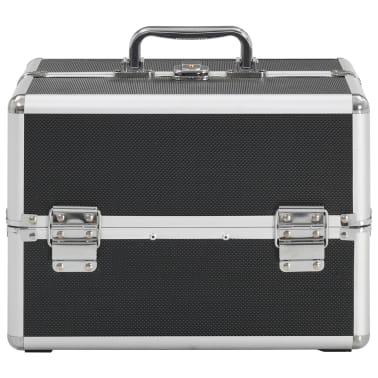 vidaXL Kosmetinis lagaminas, juodos spalvos, 22x30x21 cm, aliuminis[3/6]