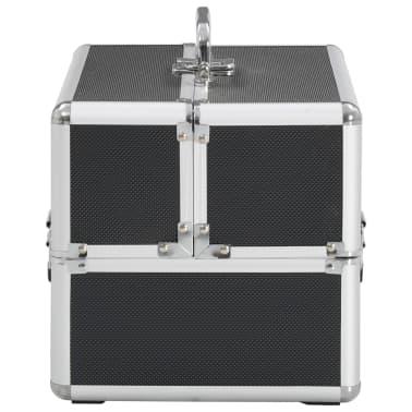 vidaXL Kosmetinis lagaminas, juodos spalvos, 22x30x21 cm, aliuminis[4/6]