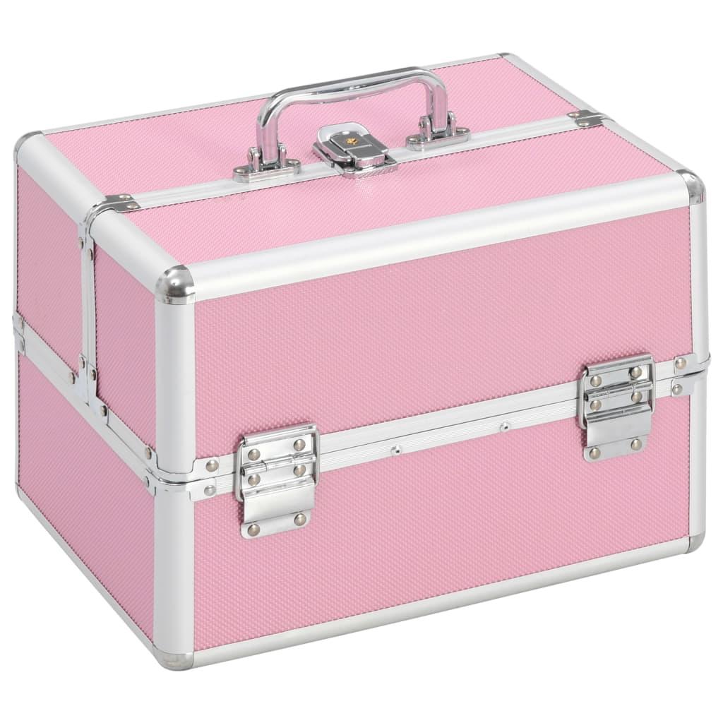vidaXL Make-up koffer 22x30x21 cm aluminium roze